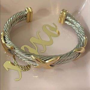 Jewelry - Gold silver X double cable bracelet